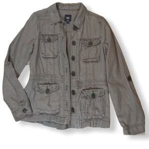 Gap Gray Button Up Flax Utility Jacket